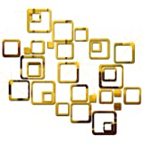 Wall1ders - 30 Six Size Square Golden 3D Acrylic Sticker, 3D Acrylic Stickers for Wall, 3D Mirror Wall Stickers, 3D Wall…