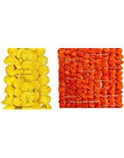 Sphinx Artificial Marigold Fluffy Flowers Garlands for Decoration - Pack of 5