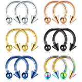 Rajnard Piercing Naso Piercing Septum Anelli 16G 8mm/10mm Acciaio Chirurgico Piercing Helix Tragus Cartilagine Labbro Anello