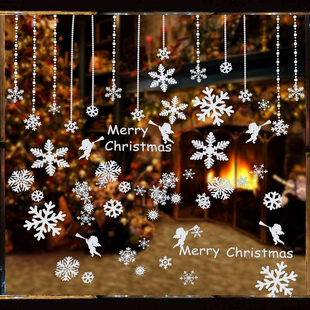 160pz adesivi finestre fiocco di neve decorativo murali - Adesivi finestre natale ...