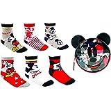 Disney Mickey Mouse Calcetines para Niños, Pack Múltiple de 6 Calcetines, 100% Algodón Suave, Juego de Calcetines, Incluye Bo