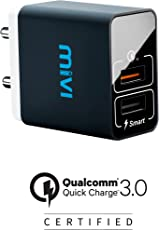 Mivi Quick Charge Wall Charger with Auto-Detect Technology Compatible with Mobile Devices (Black)