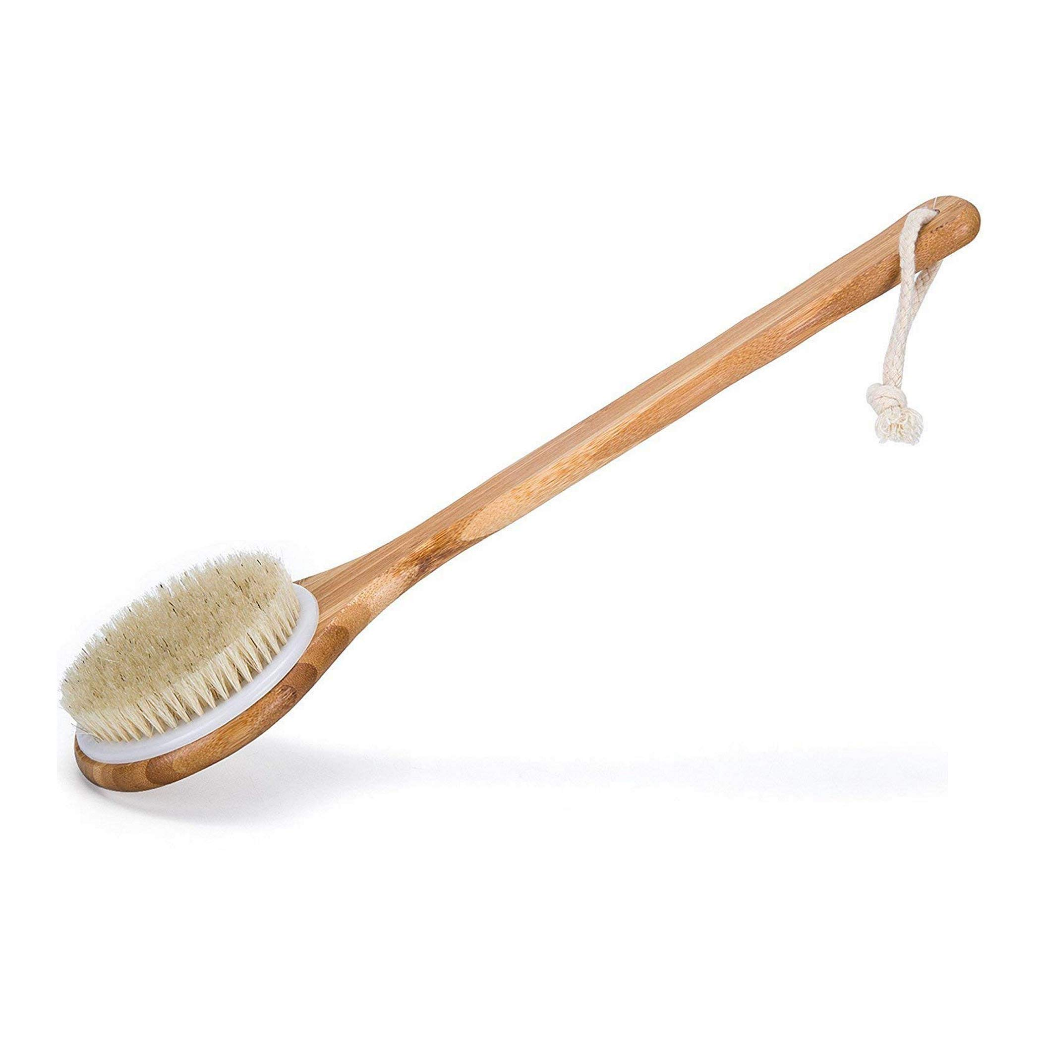 OYMI Best Bath Dry Body Brush – Natural Bristles Shower Back Scrubber With Long Handle for Cellulite, Exfoliation, Detox