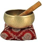 CRAFTHUT Brass Meditation Bowl with Stick and Cushion Tibetan Buddhist Singing-Bowl 4-inch Diameter (Golden)