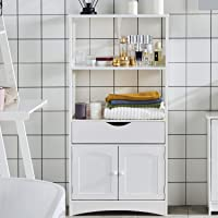DICTAC Bathroom Floor Cabinet 122 x 30 x 60 cm bathroom tall cabinets Storage Cabinet Storage Cupboard Free Standing Bookshelf Kitchen Microwave Cabinet with 2 Open Shelf 1 Cupboard 1 Drawers White