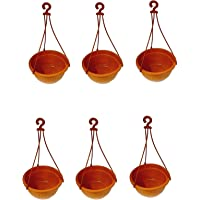 Dhavesai Plastic Hanging Pot KUNDA, Red, Brown, Upper Diameter- 18 cm, Lower Diameter 10cm,Height 13cm,Hanger length30cm…