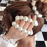 Generse - Elastico per capelli con perla, per coda di cavallo, per donne e ragazze, confezione da 2