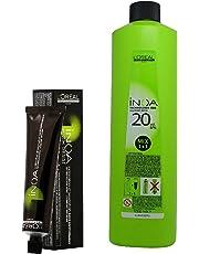 L'Oreal INOA Pack of Ammonia Free Permanent Colour 2 (Darkest Brown) (1tube, 60mL) and Oil Developer (1000 mL)