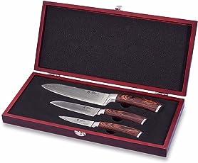 Wakoli Damastmesser Profi Set mit Holzbox, VG-10, 30,5 cm bis 19,5 cm, sehr hochwertige Kochmesser, Japanische Damaszener Klinge, 67 Stahllagen Messer, Damast Küchenmesser mit Edelholz Griffen