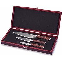 Wakoli Damastmesser Profi Messerset mit Holzbox, VG-10, 30,5 cm bis 19,5 cm, sehr hochwertiges Damast Messer, Japanische Damaszener Küchenmesser mit Ahornholz Griffen