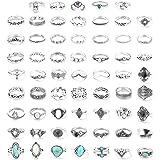 مجوهرات من فن رن 61 قطعة، خاتم لمفصل الاصبع، مجموعة اوبال فيروزية قابلة للتكديس بنمط بوهيميان رترو، مجوهرات عتيقة