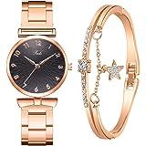 MGCG Quadrante a foglia di orologio al quarzo semplice e alla moda, semplice cinturino in lega da donna intarsiato con strass