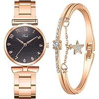 MGCG Quadrante a foglia di orologio al quarzo semplice e alla moda, semplice cinturino in lega da donna intarsiato con…