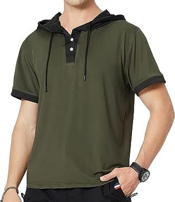 LBL Men's Casual Short Sleeve Henley Jersey Hoodie Baseball T Shirt