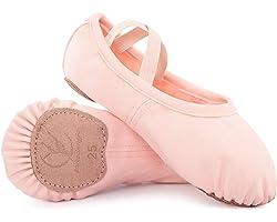 Girls Ballet Shoes Dance Shoes Canvas Ballet Slipper Split Leather Sole Yoga Gymnastic Shoes for Toddlers Kids Children Women
