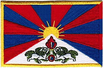 Tibet Flag Embroidered Patch Buddhist Tibetan Iron-On National Emblem