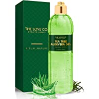 THE LOVE CO. 100% Tea Tree Aloe Vera Gel for Face, Skin, Hair - Vitamin E Moisturizer for Oily, Dry, Combination Skin…