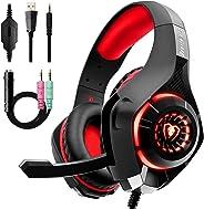 Beexcellent GM-1, Cuffie da gaming con microfono e Bass stereo, Cancellazione del rumore, Controllo del volume, Illuminazione