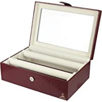 PANKATI Bangles Bracelet Bangle and Watch Box with Glass Lid - Handmade in Red Leatherette