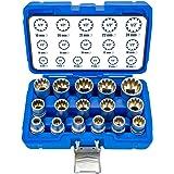 16 delar XZN Torx tum flertandsmuttrar 8-24 mm 12-punkts hylsnyckelsats yttre