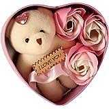 HOMOKART Heart Shape Gift Box with Teddy & Rose