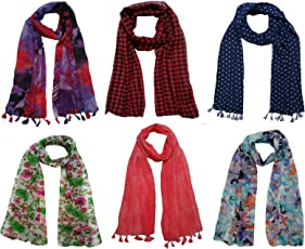 FusFus Women's Printed Trendy Stoles, Free Size(Multicolour, F0151) - Pack of 6