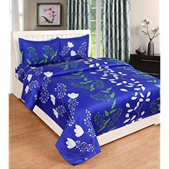 Ellonia 150 TC 100% Cotton Double Bed Sheet with 2 Pillow Covers Size 90 by 90 3D Printed Multi Colour