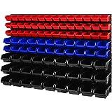Opbergsysteem wandrek - 1158 x 780 mm - stapelboxen kijkopslagbakken schudkast - wandplaten set met 3 soorten dozen (rood/bla