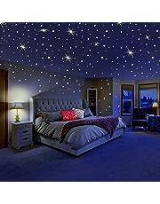 DreamKraft Glow in the Dark Galaxy of Stars with Moon Radium Wall Stickers (280 Stars and Moon) (Multicolour)