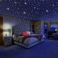 DreamKraft Radium Glow In The Dark Stars with Moon Wall Stickers for Kids Bedding Room - Pack of 450