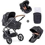 Hauck Pacific 3 Shop N Drive, 3-hjuligt, lätt barnvagnspaket upp till 25kg med bilbarnstol för grupp 0, liggdel som kan bli