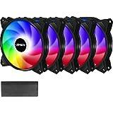 upHere 120mm PWM Sync 5v 3pin ARGB LED Ventilateur pour Boîtiers PC D'ordinateu 120mm Super Silencieux,5 Pack (PF1207-5)
