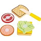 Small Foot 10889 snacksset i trä, smörgåsbröd av olika sammansättningar, 100 % FSC-certifierad, tillbehör för barnens kök ell