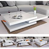 Deuba Couchtisch Hochglanz Weiß I 360° Drehbar I Cube Design I Modern I 80x80cm Wohnzimmertisch Lounge Tisch Sofatisch