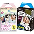 Instax Fujifilm Mini Película fotográfica, Cómic, Pack 10 películas + Fujifilm 16404193 Colorfilm Mini Star WW 1, película fo