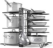 Pot Rack Organizer-Adjustable 8+ Pots and Pans Oragnizer, Kitchen Counter and Cabinet Pot Lid Holder with 3 DIY Methods (6 Ho