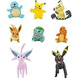 Pokémon Juego de 8 figuras de combate con Charmander, Bulbasaur Squirtle, Mimikyu, Pikachu, Eevee, Umbreon, Espeon, perfecto