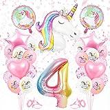 Globos Numeros Gigantes Unicornio 4, Decoración de Cumpleaños 4 en Rosado, Decoracion Unicornio, Globos de Cumpleãnos Unicorn