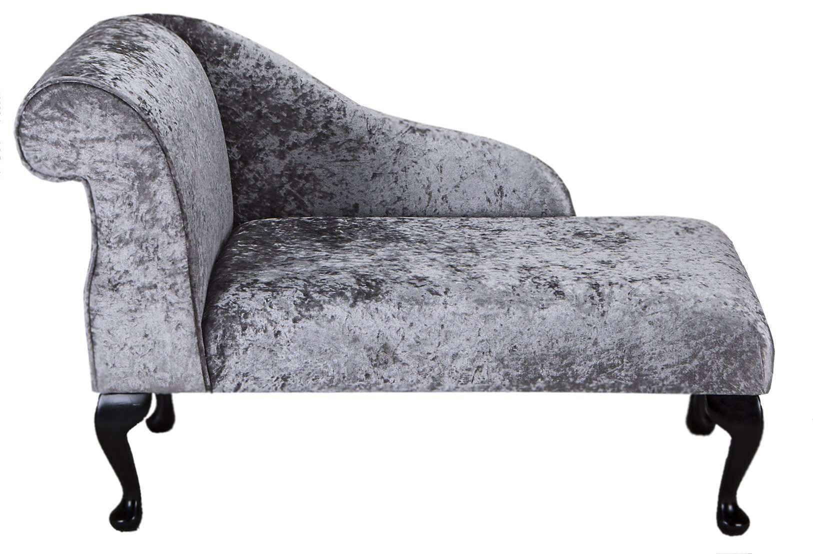 41″ Small Classic Chaise Longue – Chair Seat – Bling Pewter Fabric – Left Facing With Queen Anne Legs