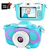 Kriogor Barnkamera, barnkamera-selfie och videokamera med 12 megapixel/dubbla objektiv/4 x zoom/32 G TF-kort, födelsedagspres