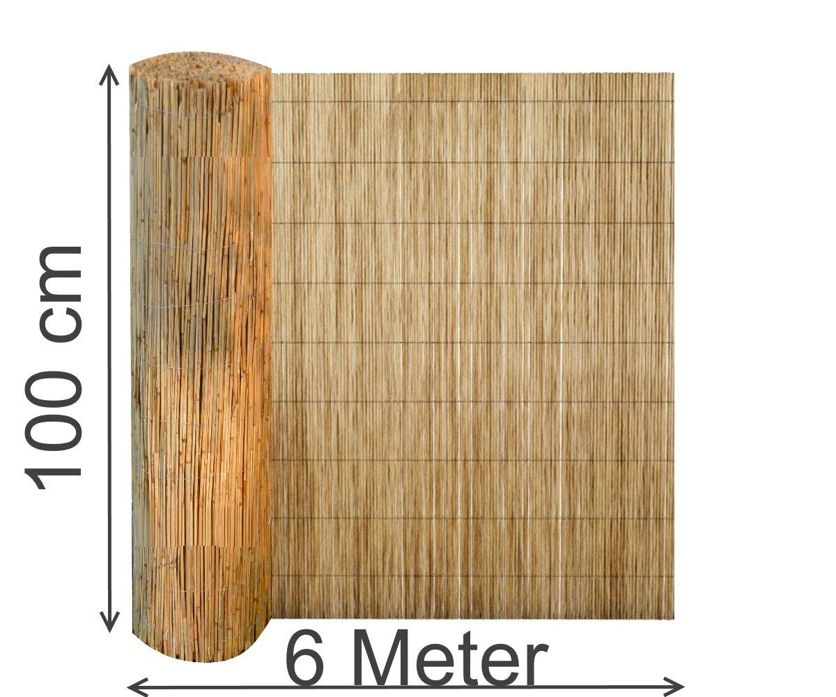 Sichtschutz 600 cm lang aus Schilfrohr Wind schutz Schilfmatte