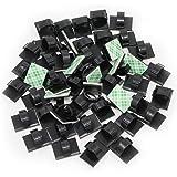 KEESIN Självhäftande kabelhållare plast snabbt buntkabel klämmor bilkabelarrangör, skrivbord väggkabel trådklämmor 100 Pieces