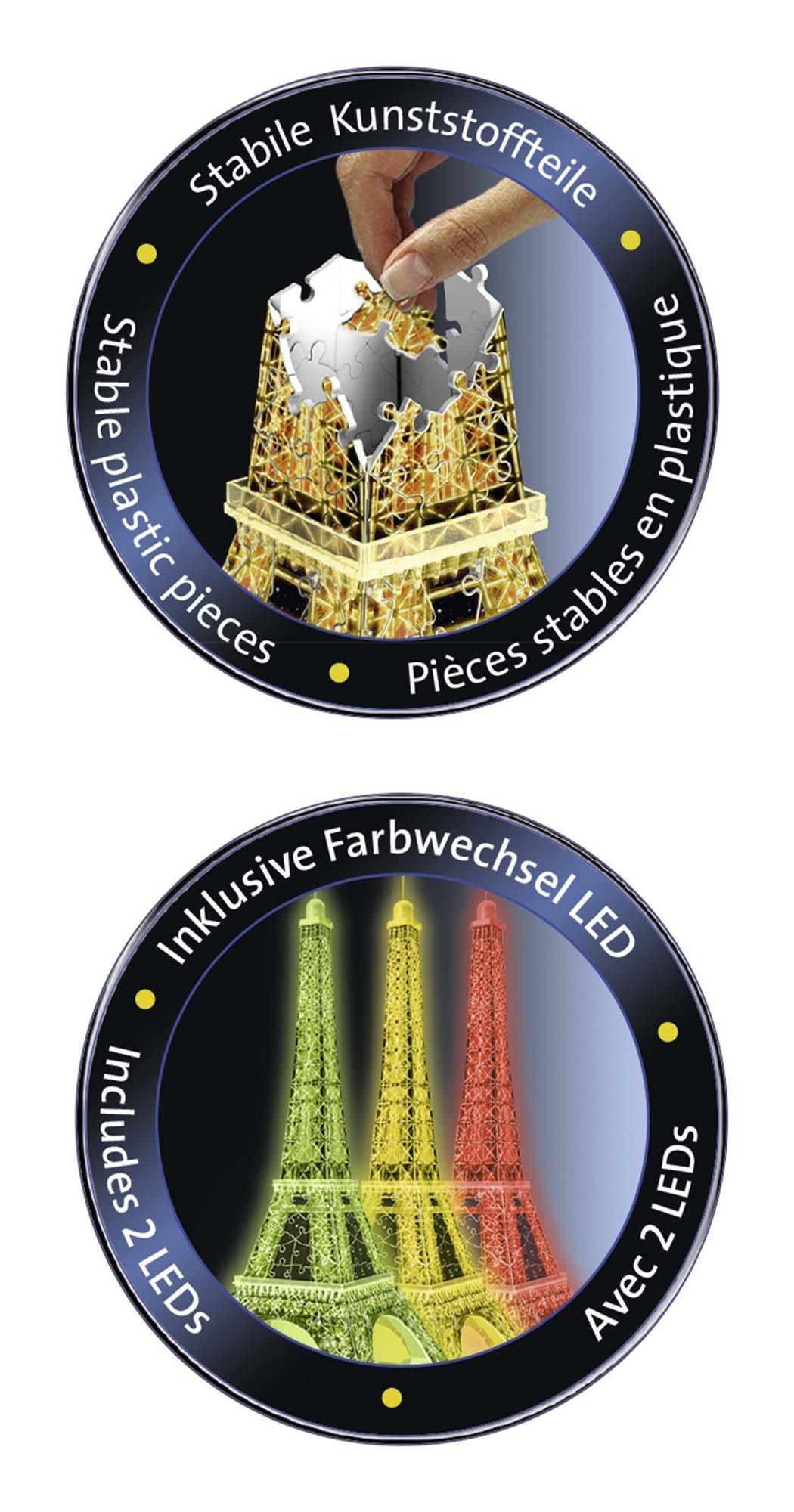 Ravensburger- Tour Torre Eiffel Puzzle 3D con LED, Edizione Speciale Notte, 216 Pezzi, Multicolore, 12579 4 spesavip