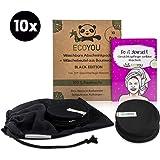 EcoYou Abschminkpads Waschbar 100% BIO-Baumwolle in Schwarz 10er Set Inkl. DIY-Rezepte & Wäschenetz aus Baumwolle ♻ Wattepads Wiederverwendbar ♻ Plastikfreie Verpackung - Zero Waste