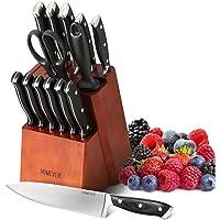 HOMEVER Couteau de Cuisines, 15 Pièces Set Couteaux de Cuisine en Acier Inoxydable avec Bloc Couteaux en Bois, Couteaux…