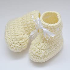 Love Crochet Art Crochet Baby Booties for 6-12 Month Baby - Creme