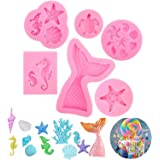 PATPAT® Fondant Cake Moulds, 6 Pieces Mermaid Tail Mould DIY Animal Silicone Molds Set Seashell Mold & Mermaid Tail Mold Choc