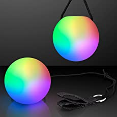 LED Poi Ball Swirling Light Rave Toy (Set of 2)