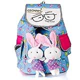 GECHAIN Women's Backpack Handbag Cute Teddy Printed (Multicolored)