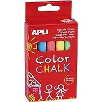 Apli 14574 - Boîte de 10 craies de couleurs assorties Bleu/Orange/Violet/Jaune/Rouge/Vert